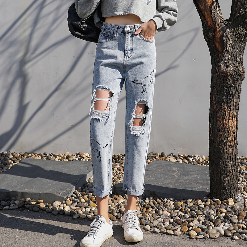 Tootless-Women Straight Leg Jeans Denim Loose Overalls Jumpsuit Pants
