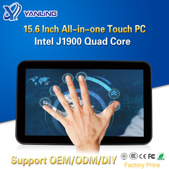 Yanling 15.6 Inch Tablet PC IPS TFT-LCD Capacitive Touch Screen Intel J1900 Quad Core Industrial All In One Fanless Computer