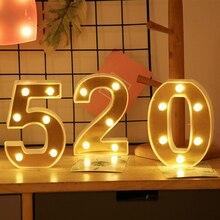 INS Oro Lettera Luci Luce di Notte del LED 26 Alfabeto Inglese Numero di Confessione Di Compleanno Giorno di san valentino di Nozze Decorazione