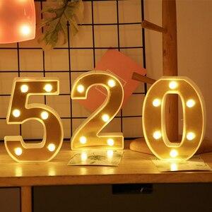 Image 1 - Veilleuse en lettres dor INS LED Alphabet et nombres, décoration pour anniversaire, mariage, saint valentin, 26 lettres anglaises