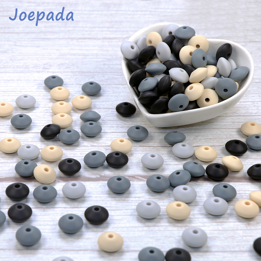 Joepada 100Pcs/lot   Lentil Beads 12mm Pearl Food Grade Silicone Teether DIY Baby Teething Necklace Accessories BPA Free
