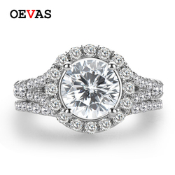 OEVAS Sparkling 2 Carats High Carbon Diamond Bridal Rings Set Top Quality Solid 925 Sterling Silver Wedding Party Fine Jewelry