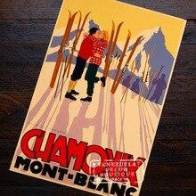 Chamonix Mount Ski Love Pair Romance cartel de viaje Retro Vintage lienzo pintura DIY pared arte hogar carteles para Bar Decoración