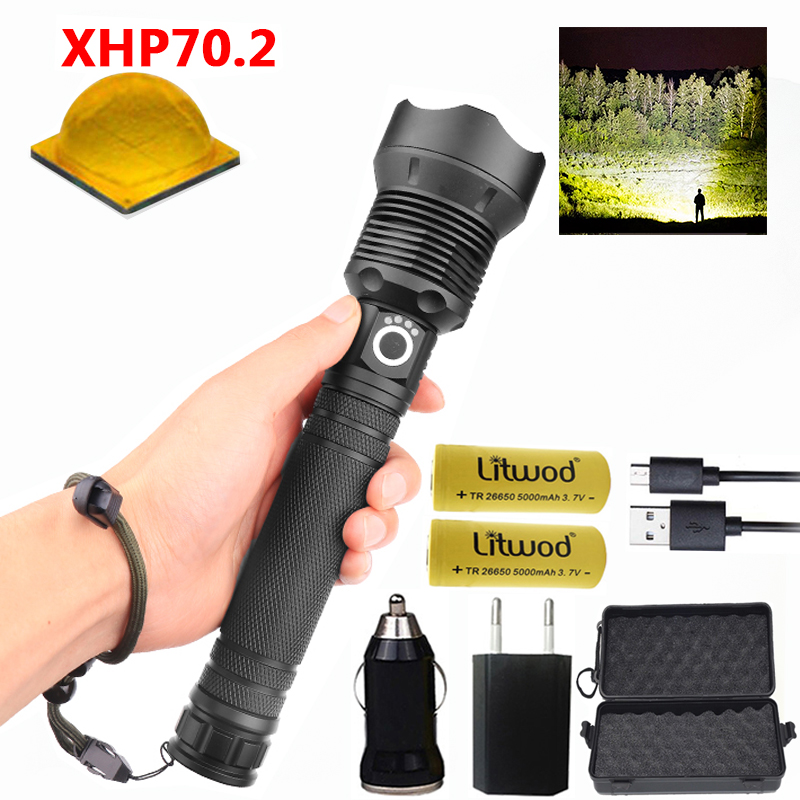 100000 Lumen Most Powerful Led Flashlight High Powerful Tactical LED Torch CREE XHP70.2 18650 26650 Rechargeable Battery Lantern