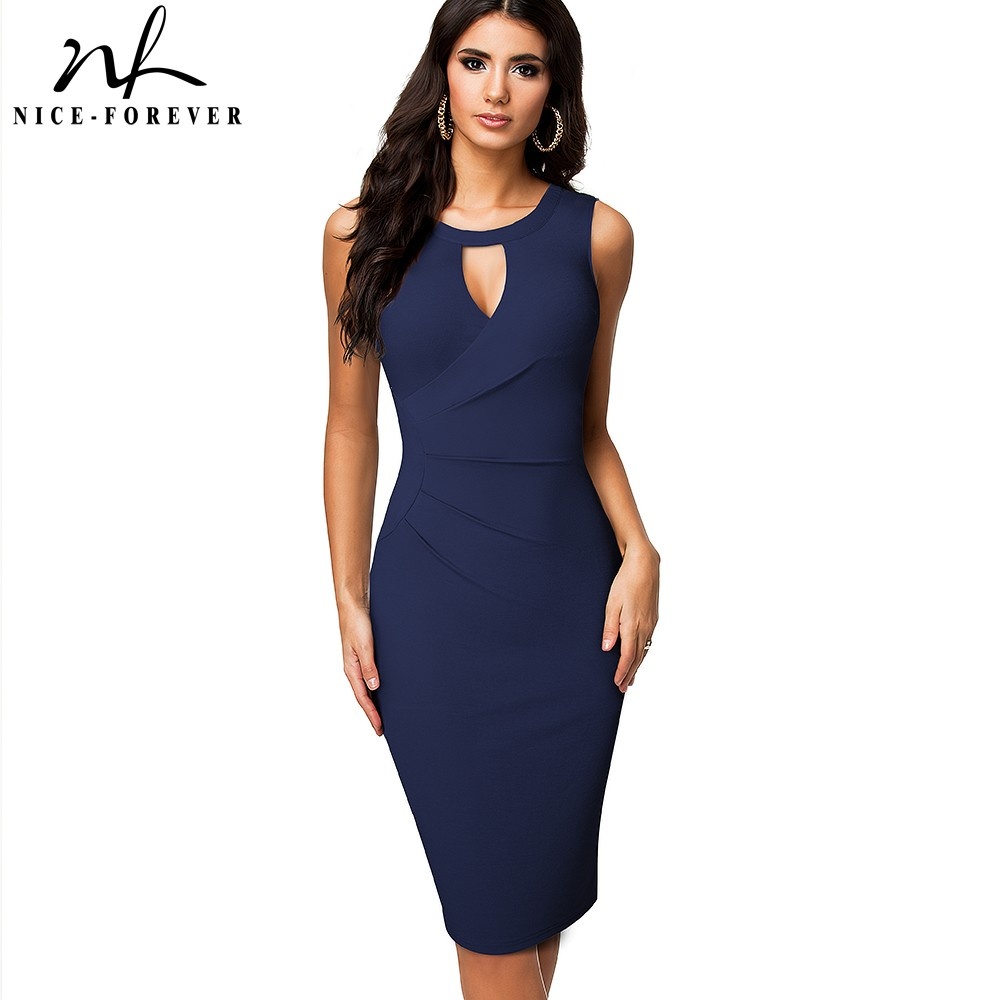 Nice Forever Summer Women Pure Color Sexy Hollow Out Dresses Cocktail Party