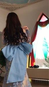 Image 4 - Abiye Arabic Dubai Long Sleeve Mermaid Evening Dresses 2020 Backless Appliques Lace Blue Long Evening Party Gowns For Women