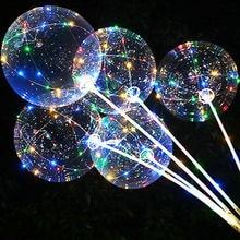 Lidar com balão de led com varas luminosa transparente hélio bobo ballons decorações da festa de aniversário do casamento miúdo led balão de luz