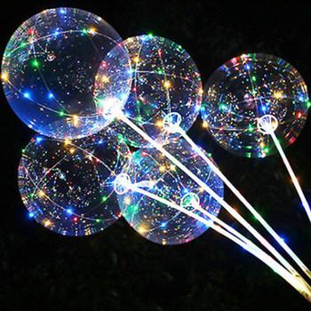 Uchwyt balon Led z pałeczkami Luminous przezroczysty hel Bobo balony ślubne dekoracje na imprezę urodzinową Kid LED lekki balon tanie i dobre opinie convivial ROUND Tak ( 50 sztuk) Ślub i Zaręczyny Chrzest chrzciny Wielkie Wydarzenie Emeryturę Birthday party Dom ruchome