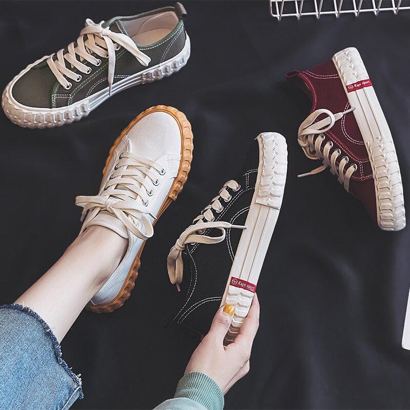 Women's Vulcanize Shoes New Fashion Candy Color Women Casual Shoes Flats Canvas Fashion Women Casual Platform Shoes Sneakers
