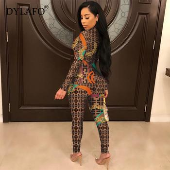 2019 New Sexy Stand Neck Skinny Rompers Zippers Long Sleeve Print Womens Jumpsuit Streetwear Plus Size Ladies Jumpsuits Overalls 1