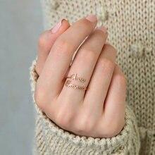 Anillos de doble nombre personalizados para mujer, Color dorado, acero inoxidable, placa con nombre personalizada, anillo de boda, regalo de joyería
