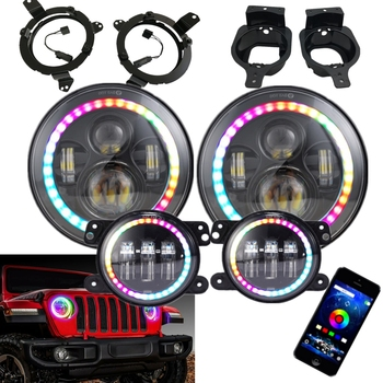 for Jeep Wrangler JL Headlight Fog Light Phone App Control RGB Halo Complete Set for Jeep  JL 2018 2019 With Bracket Adaptive