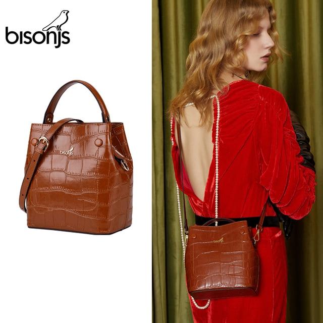 BISONJS Women Bucket Handbag Luxury Top Handle Leather Small Women Bag Fashion Female Messenger Crossbody Shoulder Bag B1838