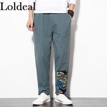 Loldeal Stitching Printed Long Pants Chinese Style Loose Casual Cotton Comfort