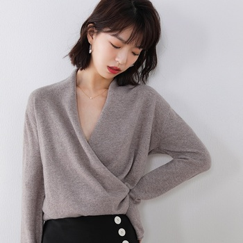 Hot Sale 100% Pure Wool Knitted Sweater Women V-neck Long Sleeve Standard Cashmere Knitwear Winter New Fashion Female Jumpers 1
