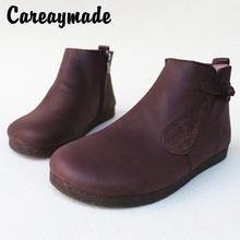 Careaymade-Retro literary artistic soft-soled Button short boot,thin zipper handmade top-level cowhide high-top womens shoes