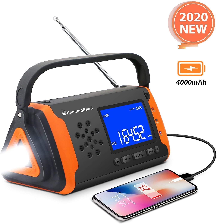 Rádio portátil de emergência noaa tempo manivela movido a energia solar 4000mah bateria brilhante lanterna aux alto-falante sobrevivência ao ar livre