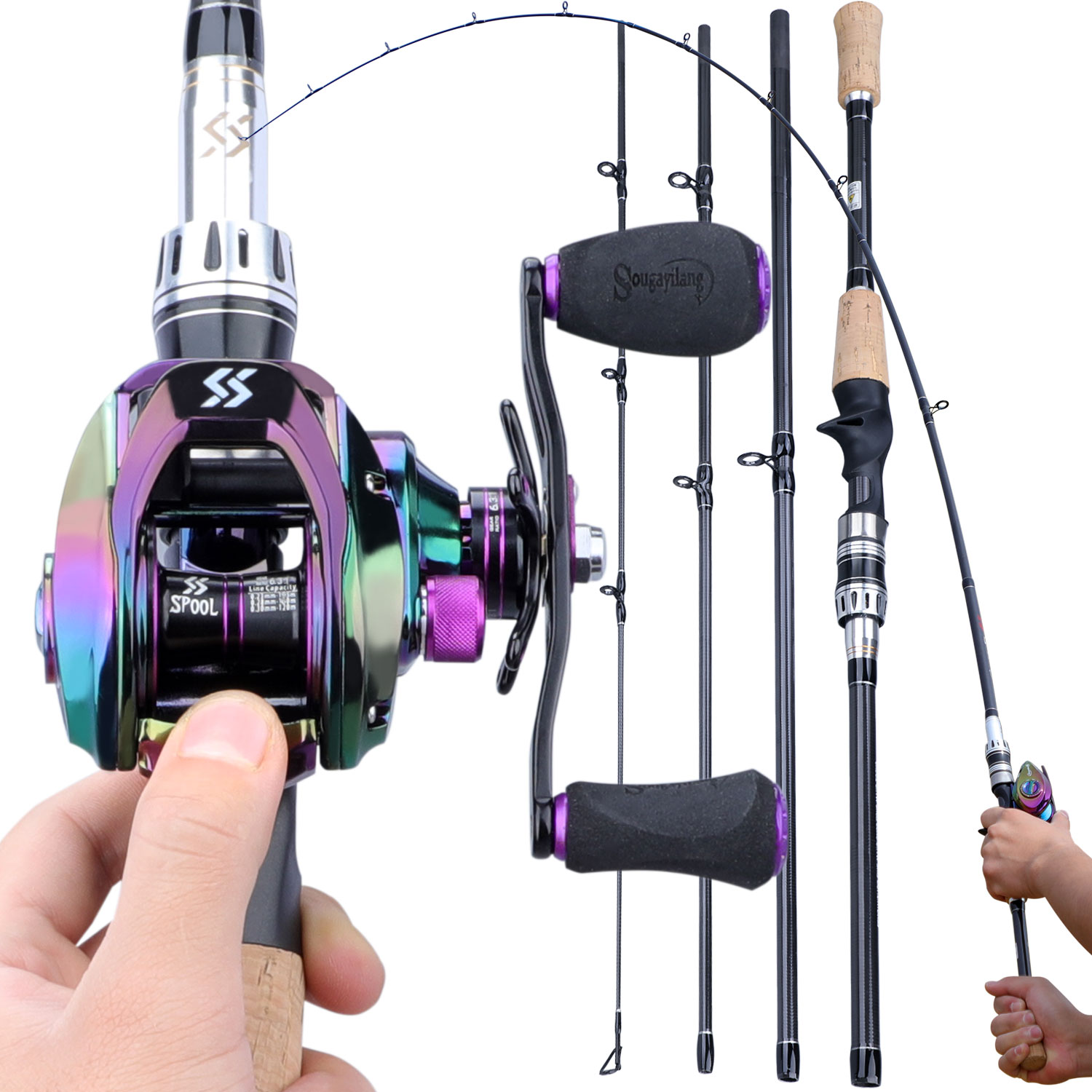 Sougayilang Portable 4 Section Fishing Combo 1.8m 2.1m Lure Fishing Rod And 9+1BB 6.3:1 High Speed Gear Ratio Baitcasting Reels