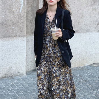 Plus Size New Spring Dress Girls Boho print Female Vintage Dress Party oversize long Sleeve Women Dresses Robe Vestido 2019 spring new women half sleeve loose flavour black dress long summer vestido korean fashion outfit o neck big sale costume