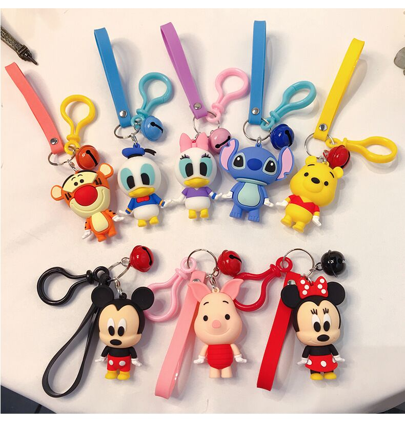 Cartoon Character Keychains Cute Mickey Minnie Action Figure Key Chain Donald Duck Bag Pendant Creative Car Pendant Key Ring image