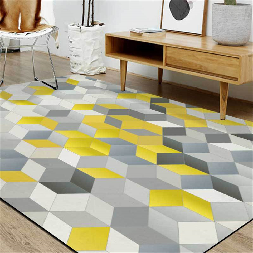 3d Floor Rug Yellow Gray Cube Print Nordic Carpet Rug Mat Bedroom Geometric Kitchen Floor Rug Rug Long Bed Rug Carpet Aliexpress