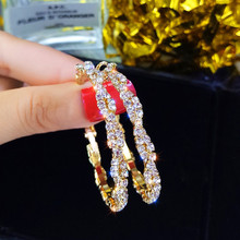 FYUAN Fashion Jewelry Round Hoop Earrings Shiny Screw Crystal for Women Statement Party Gifts