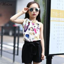 Childrens Clothing Set Summer Girl Chiffon Sleeveless Top + Bow Shorts Suit Clothes for Kids Girls 5 6 8 10 11 12 14 Years Old