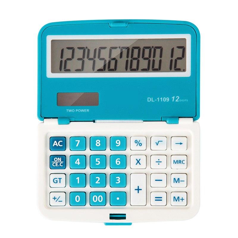 12 Digits Solar Folding Mini Calculators Dual Power Office Electronic Handheld Portable Pockets Calculator 92 × 59 × 17mm