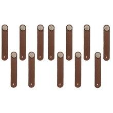 12 шт ручки шкафа ручной работы кожаный комод круглые ручки для ящиков ручка двери кухня ручка мебельная фурнитура, металлоизделия