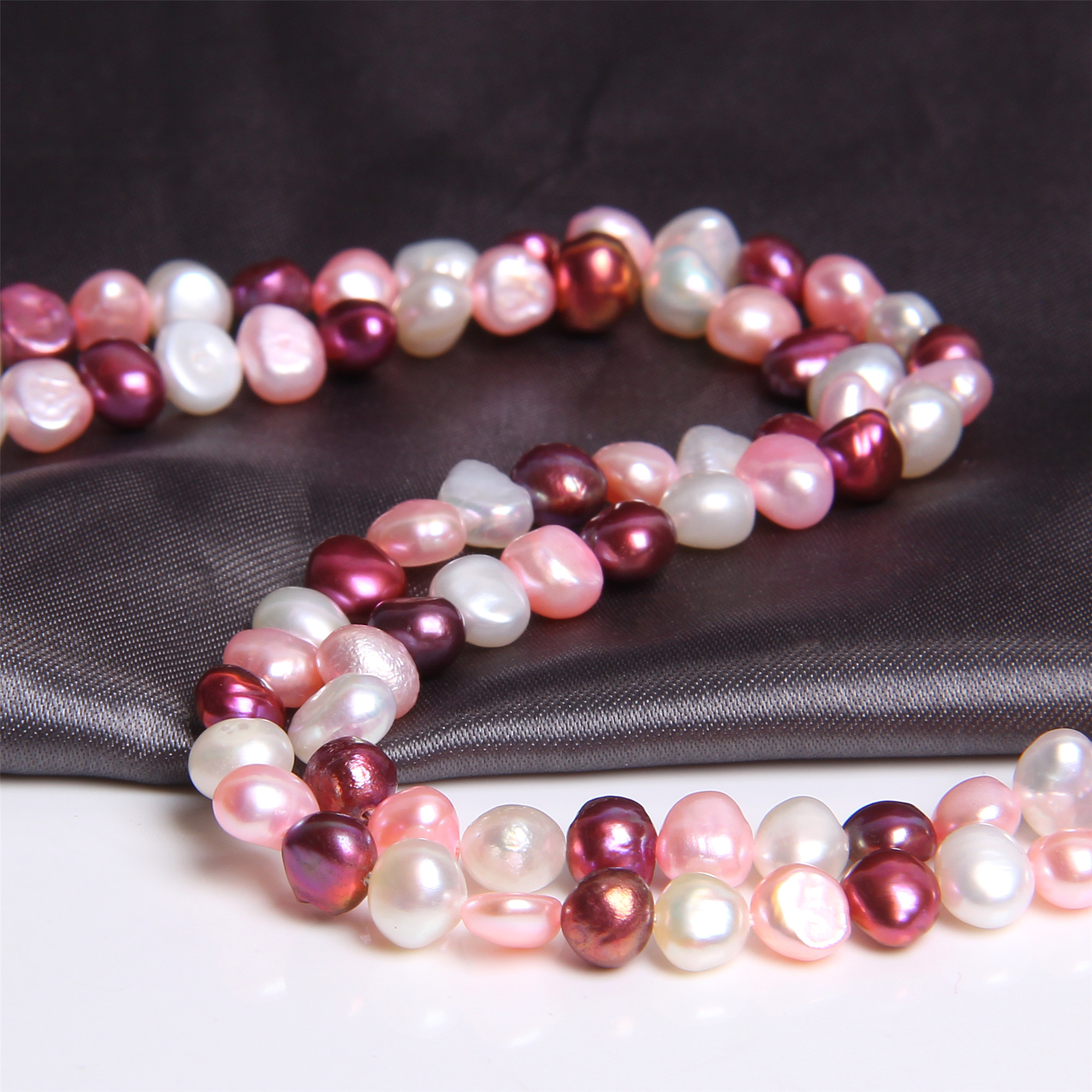 """5-6mm Natural Baroque Pearls Multi Color Real Freshwater Pearl Potato Red Pink Mix Loose Perle Beads For Jewelry Making 14"""" DIY"""
