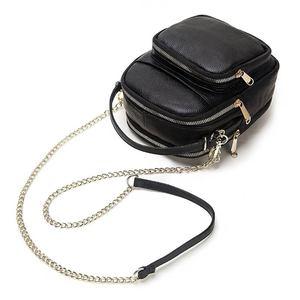Image 3 - GZCZ 100% véritable cuir de vache sac de messager femmes sac à bandoulière mode bandoulière poitrine sac à main noir pour fourre tout pochette dame