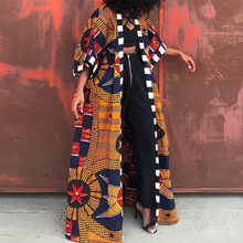 Women Long Trench Coat Fashion African Style Streetwear Oversized Cardigan Spring Fall Clothing Vintage Floral Print Outwear