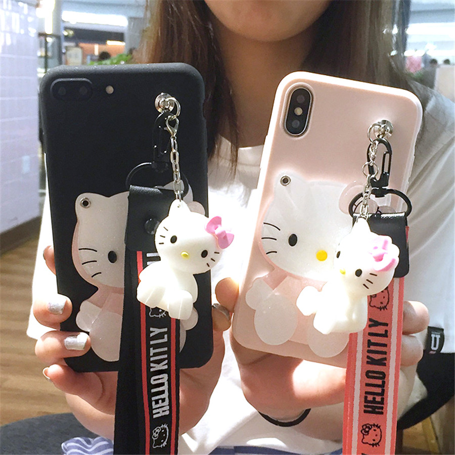 3D Cartoon Mirror Hello Kitty Stander Strap Phone Case For Samsung Galaxy S20 5G S10 S9 Plus S10E S8 Note 8 9 10 PRO Soft Case
