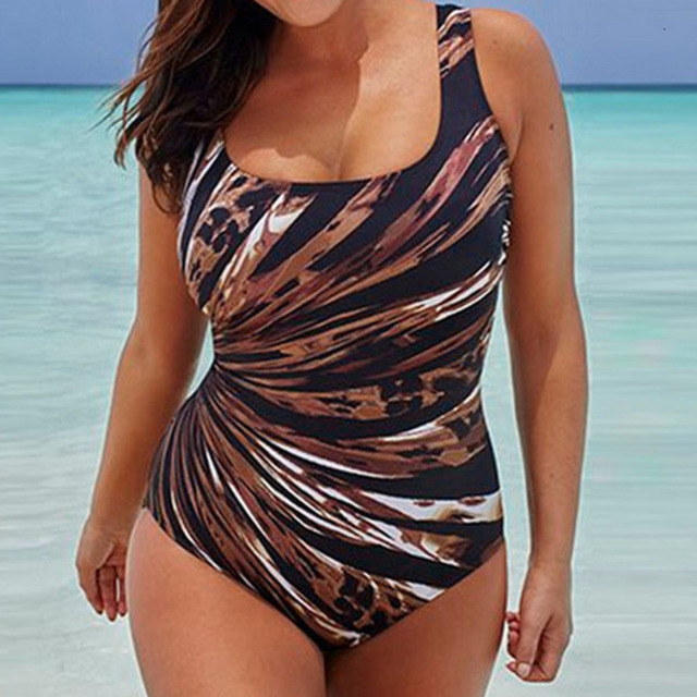 Striped One Piece Large Swimsuits