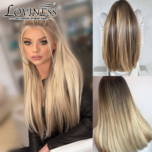 Wig Brazilian Highlight Human-Hair Honey-Blonde Lace-Front Balayage Virgin-Remy Black Women