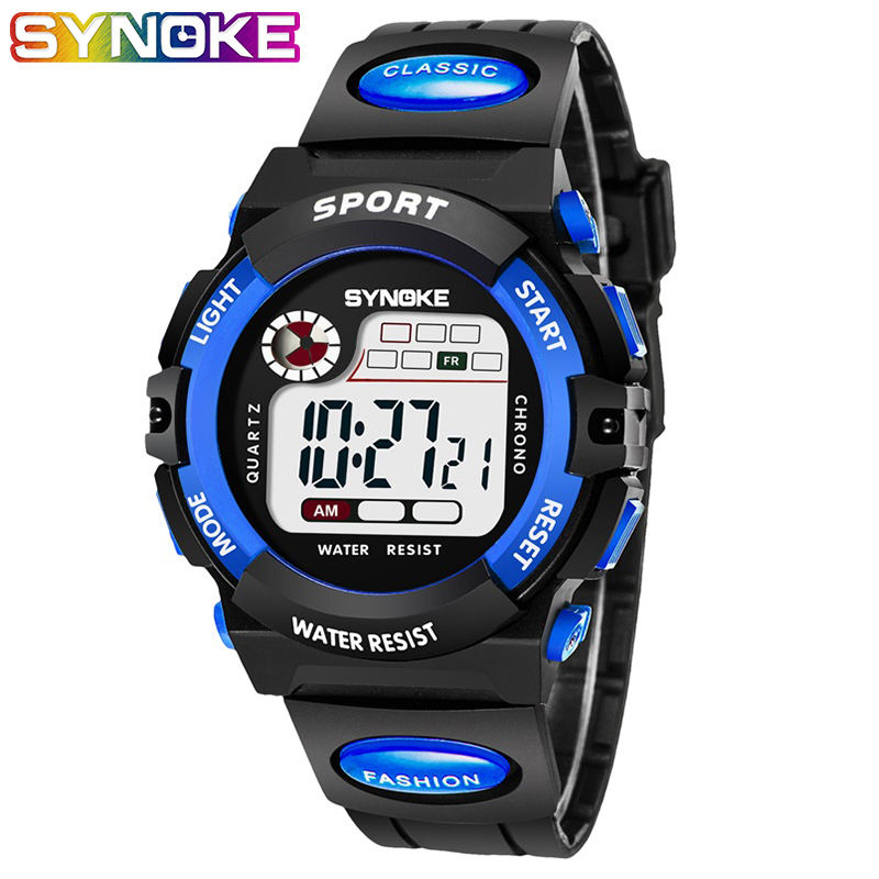 SYNOKE Watches Children Watch Led Digital Wristwatch Kids Boys Girs Students Clock Waterproof Gift Relojes Montre Enfant
