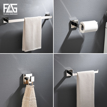 FLG Stainless Steel 304 Bathroom Accessories Set Single Towel Bar Robe Hook Toilet Paper Holder Towel Ring Polished Finish