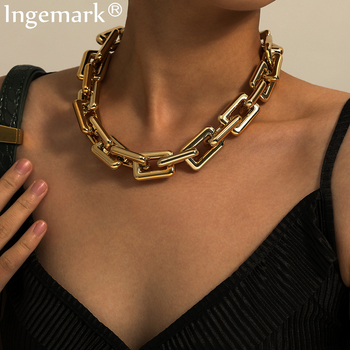 High Quality Punk Lock Chain Necklace Women Statement Hip Hop Twisted Chunky Thick Link Necklace Gothic Jewelry Steampunk Men steampunk geometric lock pendant necklace women men jewelry hip hop punk gold silver chunky chain necklaces long sweater chain
