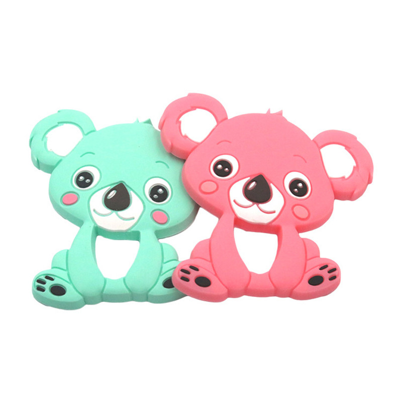 1pcs Baby Koala Silicone Teether Teething Chew Toy Infant Teether Beads DIY Necklace Nursing Tool Pendant Food Grade Silicone