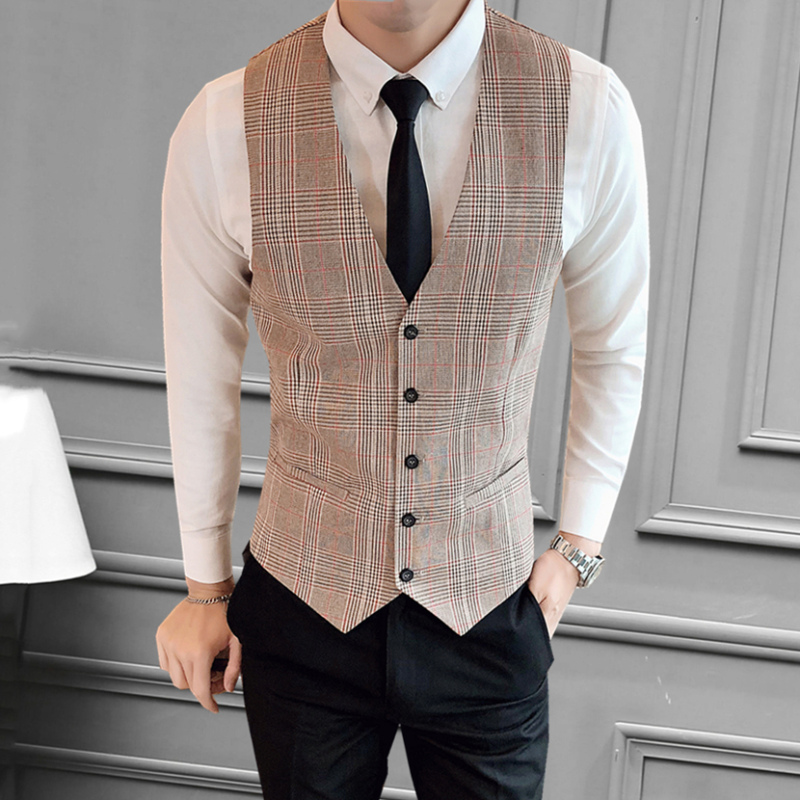 Plaid Suit Men's Business Blazer Sleeveless Mens Short Sleeve Blazer Jacket Men Formal Mens Check Blazer Tuxedo Blazer KK50XX