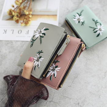 Новые женские кошельки, короткий кошелек с цветочным принтом для женщин, мини-кошелек на молнии, Дамский маленький кошелек, женский кожаный ...
