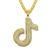 New style deserve to act the role of Europe and America hip-hop notes men women pendant nightclub gold chain