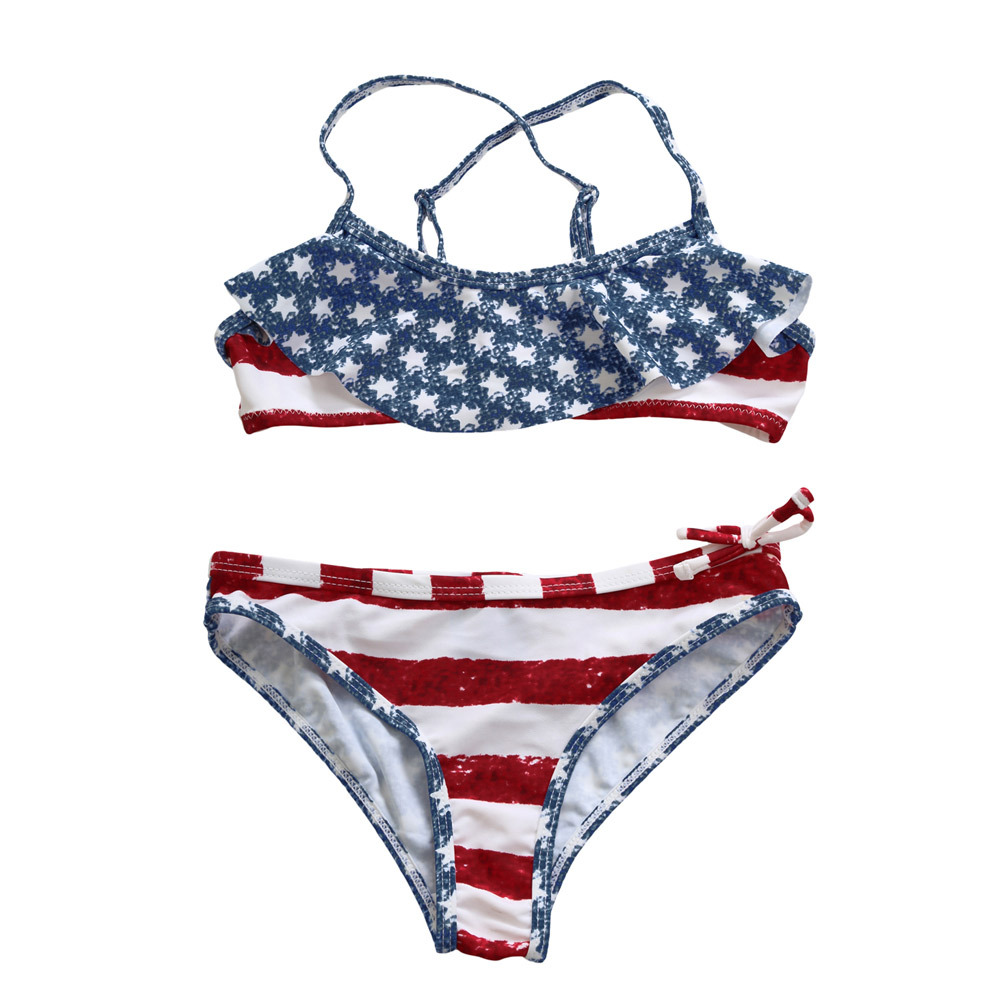 Pa Meng Childrenswear Bikini Printed Cross Camisole Chest Stripes Flounced Split Type Swimwear TZ410002