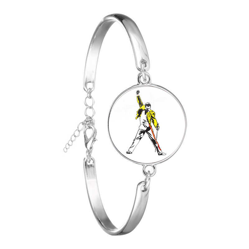 Freddie Mercury Glass Cabochon Bracelet Jewelry Accessories For Men Women Chain Bangle Gift
