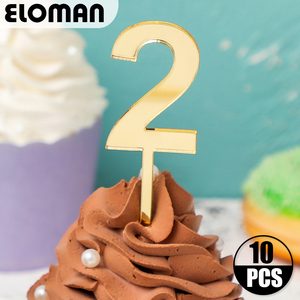 Birthday cupcake number Topper ELOMAN Gold Acrylic Cake Top Flag Decoration for Boy and girl Birthday Party Wedding Supplies(China)