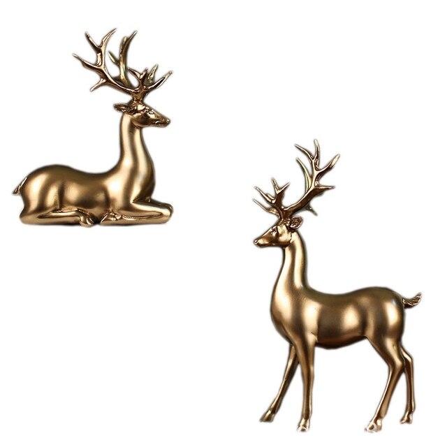 1 Set of 2 Golden Deer Statue Miniature Model European Resin Deer Living Room Bedroom Wine Cabinet Jewelry Wedding Gift
