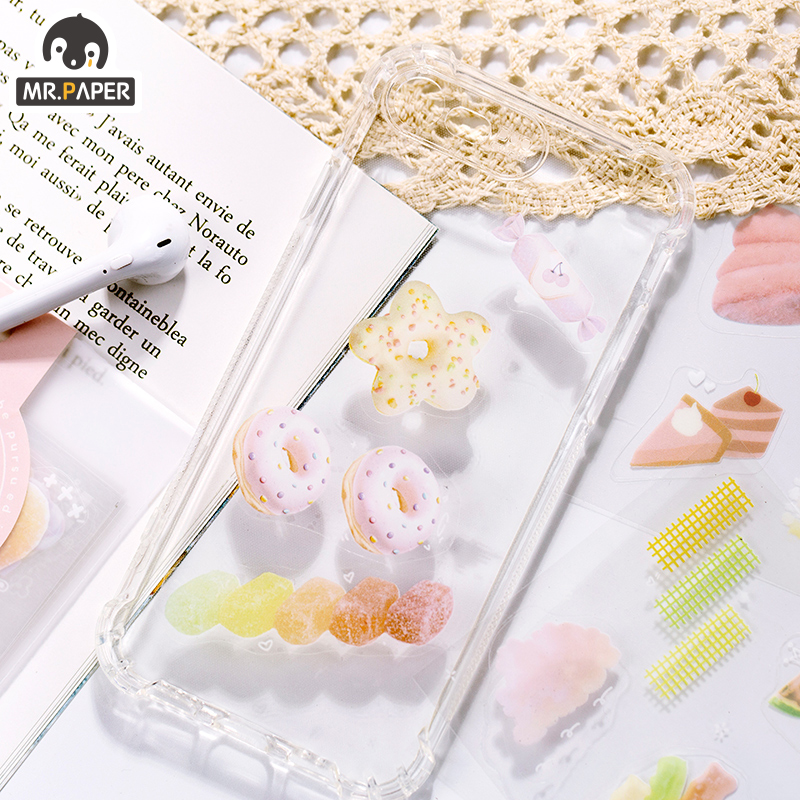 Mr.paper 2Pcs/pack 4 Designs Sweet Girlish Knit Small Stickers Bullet Journal PET Deco Children Creative Stickers Easy To Tear