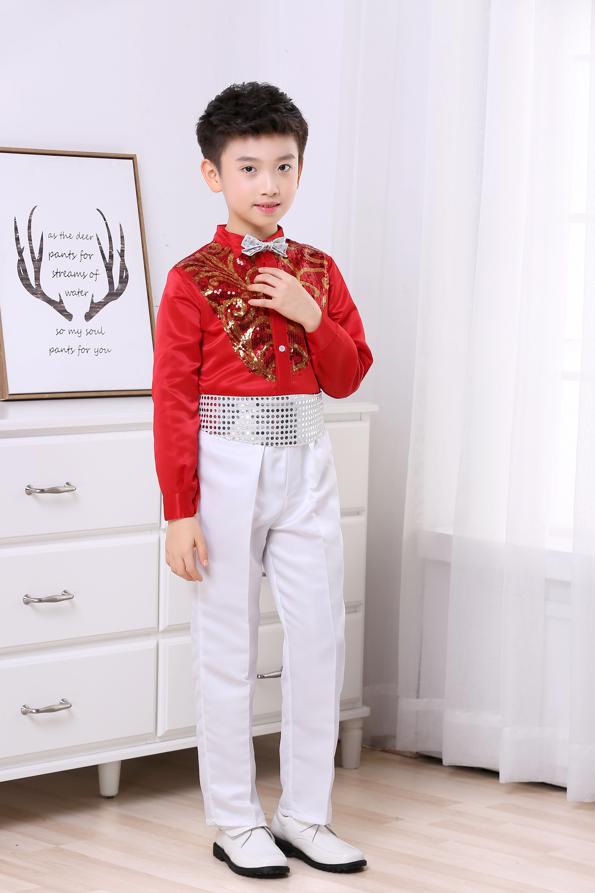 Children's Chorus Primary And Secondary School Students' Sequin Performance Boy Host Long Sleeve Suit Performance Clothing