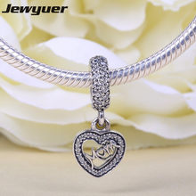 Silver Mon Dangle charms 925 sterling silver pendant heart charm fit beads bracelets necklace DIY gift to mom fine jewelry DA133(China)