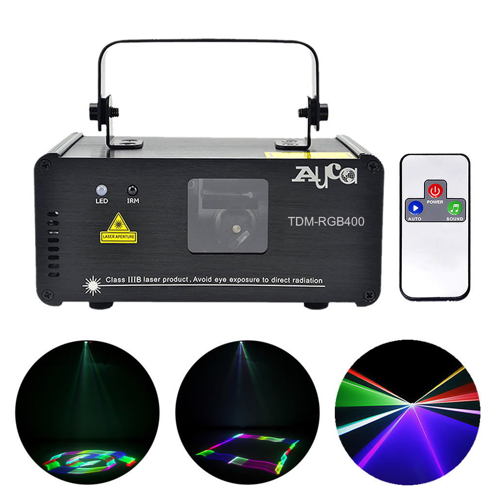 AUCD Mini Remote 3D Effect 400mW RGB Full Color Laser Projector Lights 8CH DMX Disco DJ Party Show Beam Scan Stage Lighting 3D-F